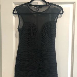 Ruched bodycon black dress